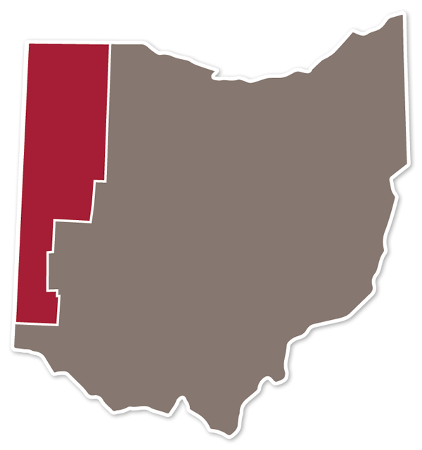 Ohio Counties with In-State Tuition highlighted.