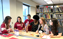 group of IU East students learning skills to tutor