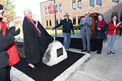 IU Bicentennial marker unveiled in front of Whitewater Hall rose garden