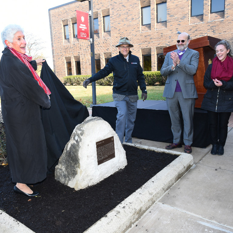 platform party unveils bicentennial marker plaque on rock