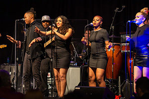 singers and musicians from IU Soul Revue perform live on stage