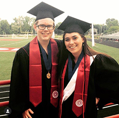 Chase Eversole and Emily O'Brien after commencement