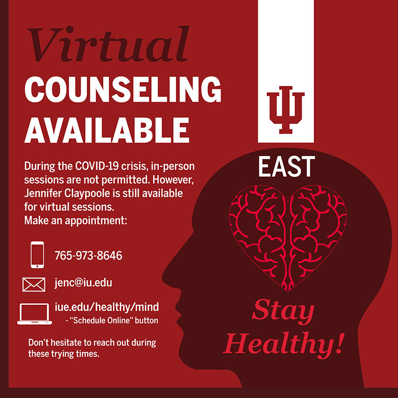 infographic image with information to receive virtual counseling
