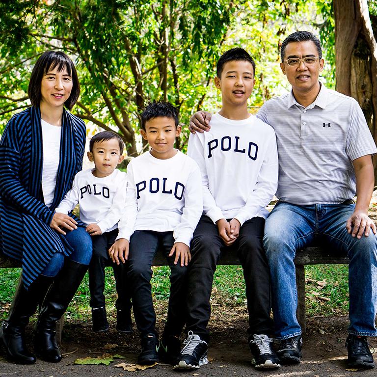 Noriko Kuwahara with her three sons and husband
