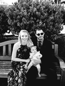black and white family photo of Niniana Oehler, Stephen Oehler and Valerie Oehler