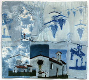 first place entry for WVAC exhibition is a fiber quilt that includes blue, white, churches and grape vines