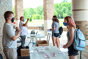 incoming freshmen meet with current students and staff during First Year Open House in 2020