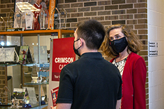 IU President-elect Pamela Whitten listens as IU East student Zachery Honeycutt shares about the academic programs and resources available in Hayes Hall. Honeycutt is an Admissions Ambassador for the Office of Admissions.
