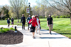 IU President-elect Pamela Whitten toured IU East with Chancellor Kathy Girten, student Zachery Honeycutt, and administrators on April 27.
