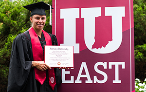 Magda Linette receives her diploma from IU East. Photo courtesy of the WTA.