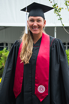 Nicole Melichar of the United States before their Indiana University East graduation at the 2021 Western & Southern Open WTA 1000 tennis tournament