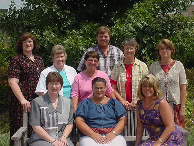 2001-2002 Staff Council Executive Board;Bottom: J Ford, A Hoosier, D Fahl. Back: L Melody, A McCracken, M Heminger, G Smoker, D Shannon, S Johnson