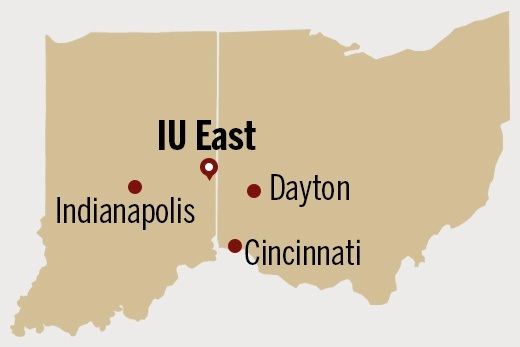Location of IU East, between Indianapolis and Dayton, and north of Cincinnati